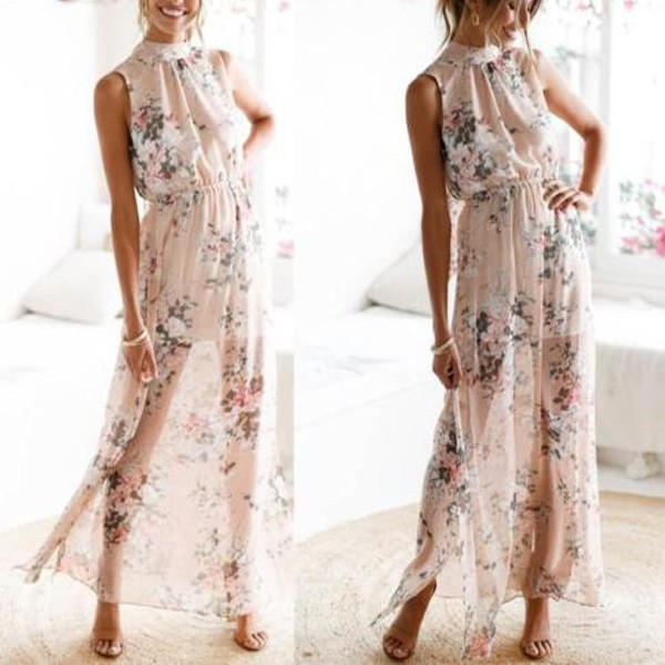 Duga cvjetna haljina od šifona otvorenih leđa