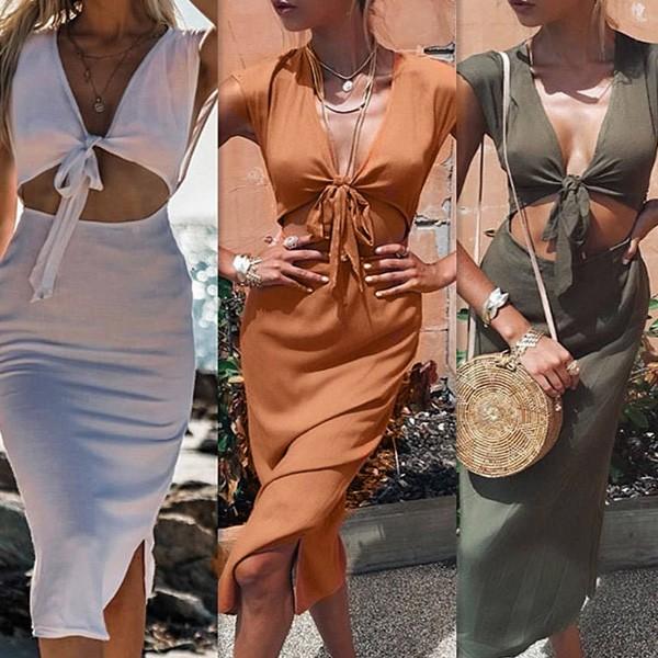 Midi haljina na vezanje sprijeda
