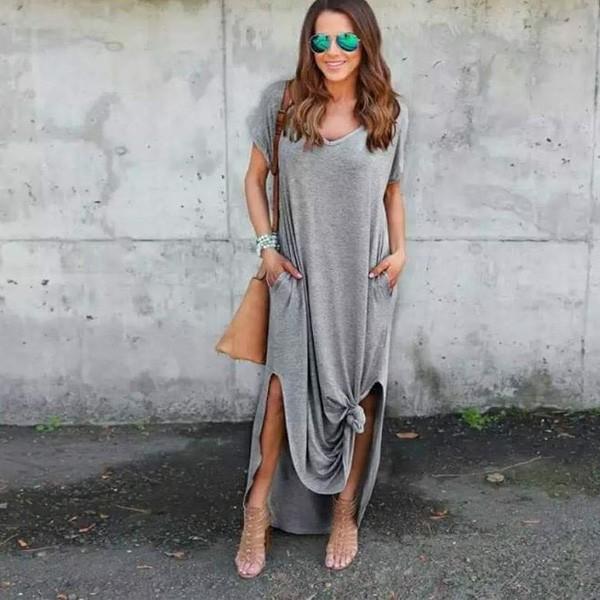 Duga vrećasta haljina kratkih rukava