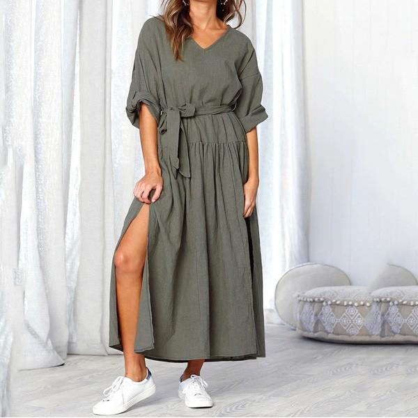 Duga safari haljina podfrknutih rukava