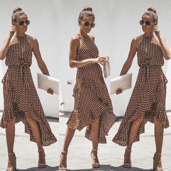 Asimetrična haljina bez rukava na točkice