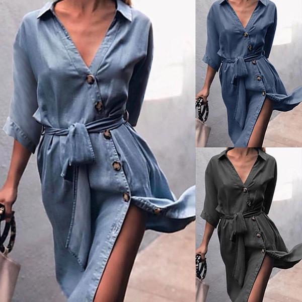 Midi haljina na dugmad treper izgleda