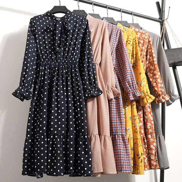 Vintage midi haljina na volane s mašnom 20 modela