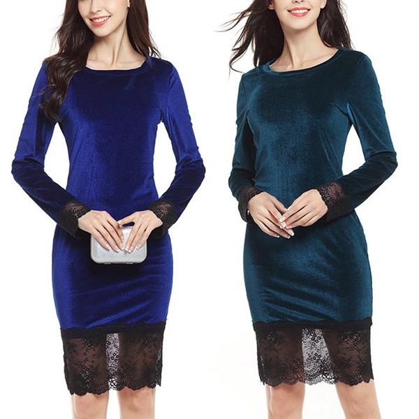 Baršunasta haljina s čipkom na rubu i rukavima 6 boja