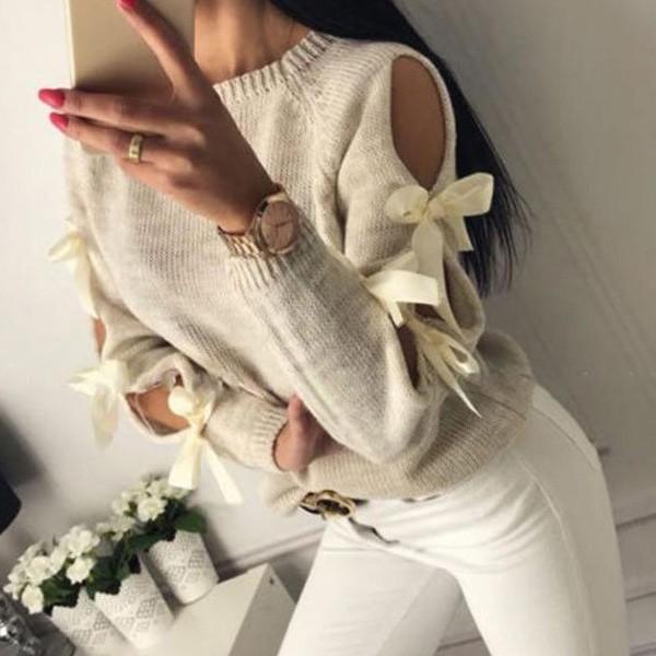 Lagani pulover sa satenskim mašnama