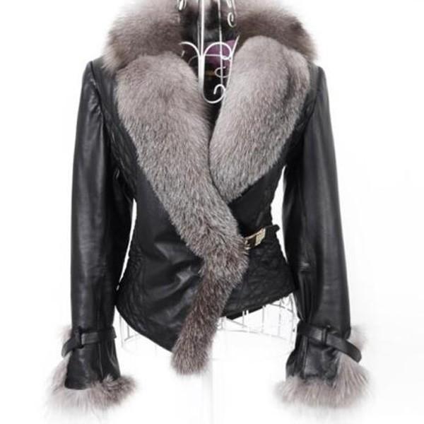 Kratka jakna kožnog izgleda s krznom