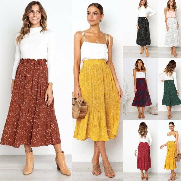 Midi plisirana suknja u 7 boja