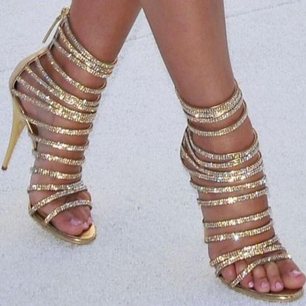 Gladijator zlatne sandale s kristalima