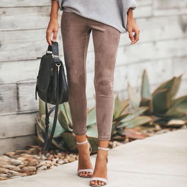 Tajice izgleda brušene kože sa zipperom na nogavici
