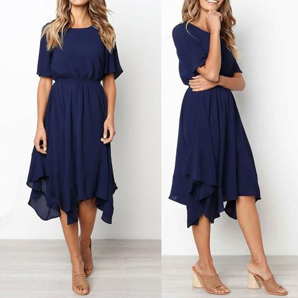 Asimetrična casual haljina kratkih rukava