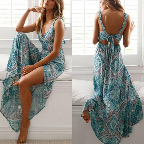Duga boho cvjetna haljina na vezanje na leđima