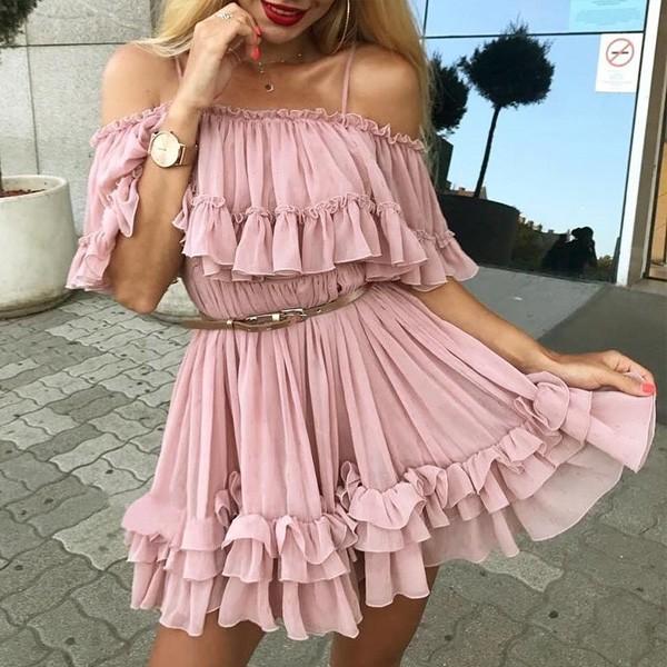 Mini haljina otvorenih ramena od tila na volane *limitirana kolekcija*