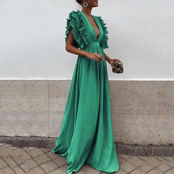 Duga haljina na volane otvorenih leđa *limitirana kolekcija* 6 boja