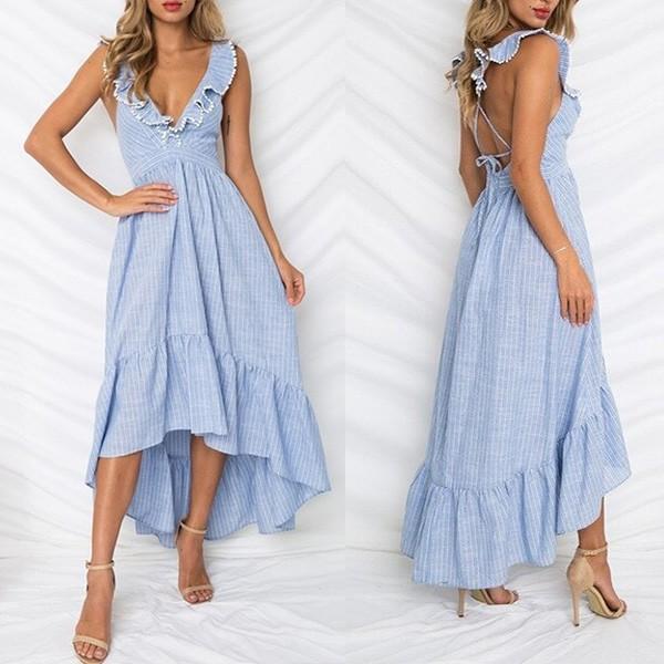 Asimetrična prugasta haljina otvorenih leđa na volane *limitirana kolekcija*