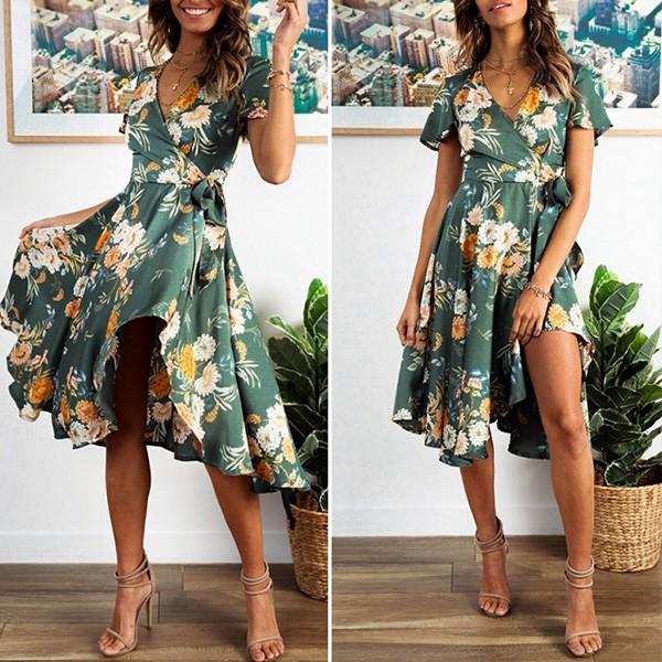 Midi asimetrična cvjetna haljina preklopnog izgleda *limitirana kolekcija*