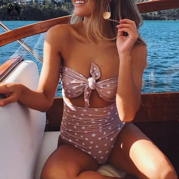 Jednodijelni kupaći kostim na točkice s mašnom