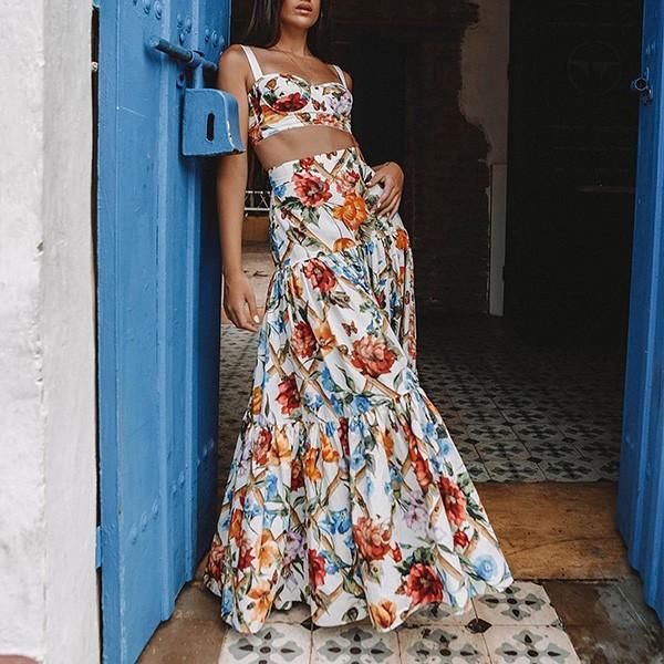 Duga cvjetna haljina u dva dijela top + suknja limitirana kolekcija