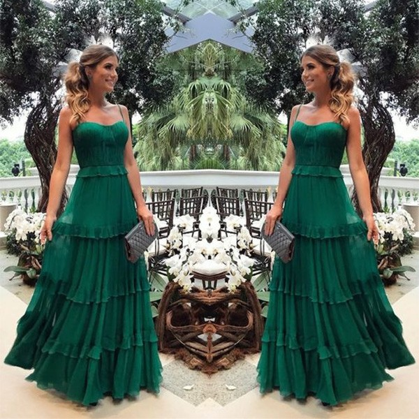 Duga zelena haljina na višestruke volane limitirana kolekcija