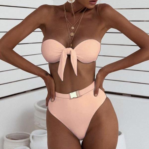 Bandeau rebrasti kupaći kostim s gaćicama s remenom