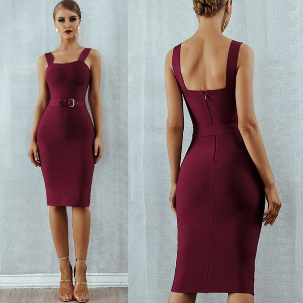 Luksuzna midi bandage haljina s remenom *premium kvaliteta*