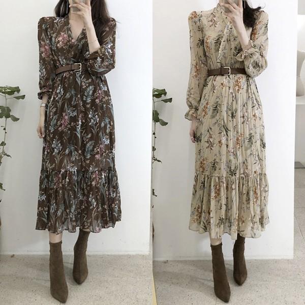 Vintage reljefasta cvjetna haljina s remenom