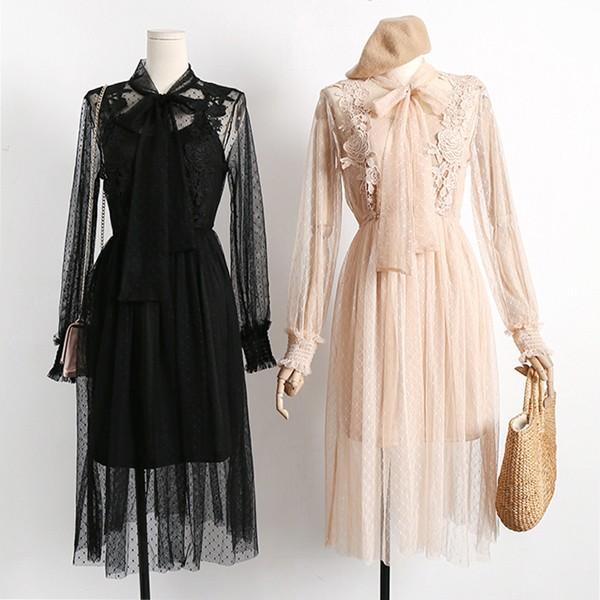 Vintage čipkana haljina s vezom