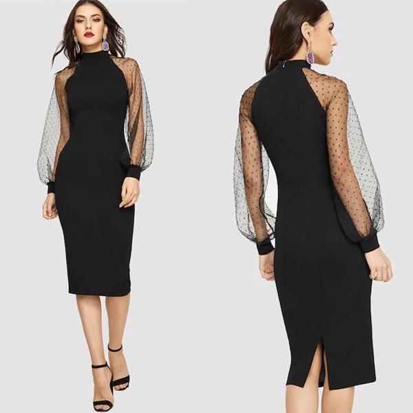 Midi haljina transparentnih rukava na točkice