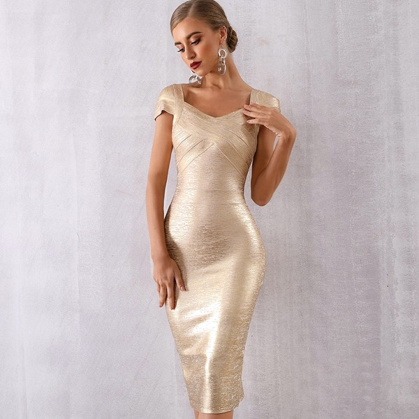Luksuzna zlatna midi bandage haljina s rukavima *premium kvaliteta*