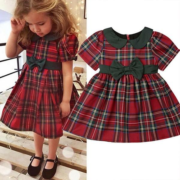 Karirana haljina za djevojčice sa satenskom mašnom