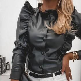 Bluza kožnog izgleda s volanima 2 boje