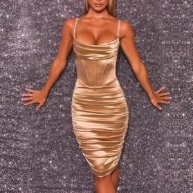 Luksuzna nabrana satenasta haljina kristalnih naramenica *Limitirana kolekcija*