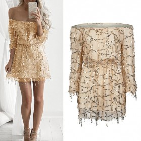Mini zlatna haljina otvorenih ramena na šljokice