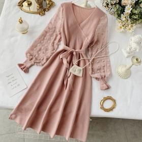 Pletena plisirana haljina transparentnih rukava *limitirana kolekcija*