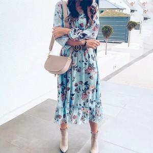 Midi lepršava haljina na cvjetove