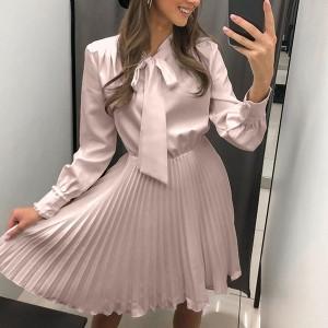 Mini plisirana haljina s mašnom *limitirana kolekcija*