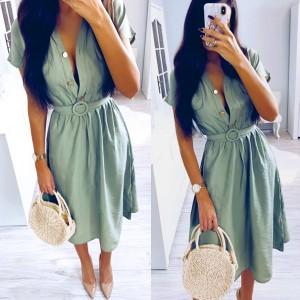 Midi safati haljina s remenom *limitirana kolekcija*