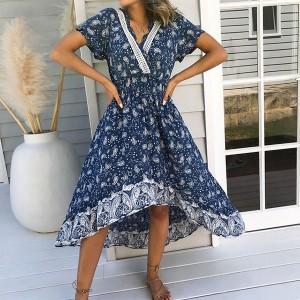 Asimetrična pamučna haljina boho printa *Limitirana kolekcija*