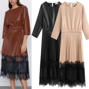 Midi plisirana haljina kožnog izgleda s čipkom