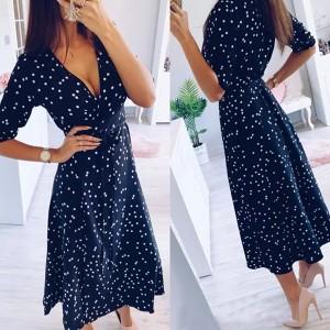 Točkasta haljina preklopnog izgleda