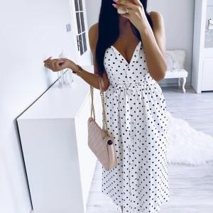 Midi točkasta haljina s remenom