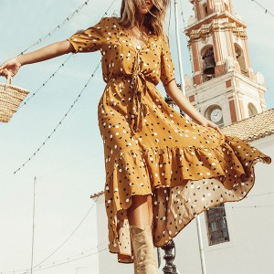 Asimetrična točkasta haljina na vezanje *limitirana kolekcija*