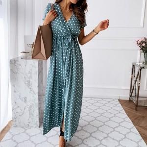 Duga točkasta haljina na preklop