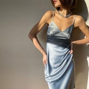 Elegantna haljina od satena na bretele 4 boje