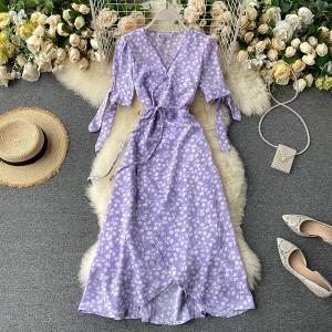 Midi preklopna haljina s mašnama na rukavima