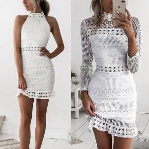 Mini čipkana haljina bez rukava i dugi rukav