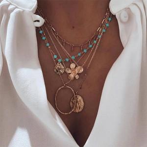 Ogrlica od 5 lančića tirkizni detalj