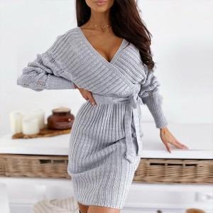 Mini pletena haljina preklopnog izgleda zvono rukava