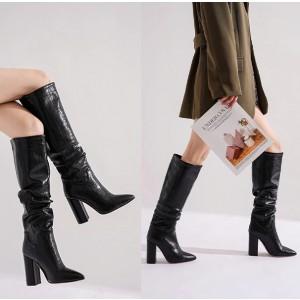 Široke čizme ispod koljena izgleda croco kože standardni EU 38