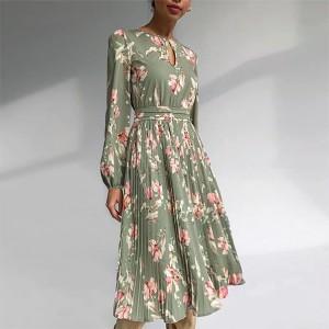 Midi plisirana cvjetna haljina