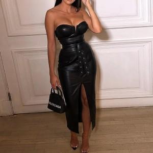Midi bandeau haljina kožnog izgleda